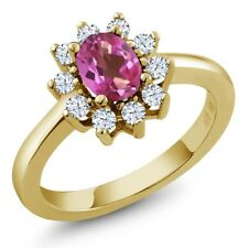 1.35 Ct Oval Pink Mystic Topaz White Topaz 14K Yellow Gold Ring