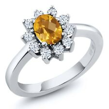1.10 Ct Oval Checkerboard Yellow Citrine White Topaz 14K White Gold Ring