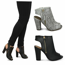 womens ladies new cut out heel peep toe zip detail block ankle boots shoes size