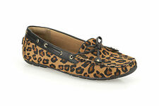 Clarks Womens Dunbar Cruiser Tan Interest Leopard Print Leather Moccasin Shoe