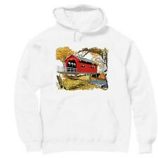 Pullover Hooded hoodie country sweatshirt fall autumn covered bridge harvest