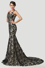 GK Long Zipper Lace Formal Gown Evening Prom Party Bridesmaids Dresses Black NEW