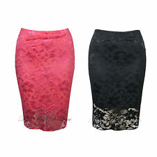 Womens Elasticated Waist Lined Floral Lace Knee Length Pencil Midi Bodycon Skirt
