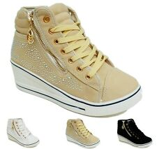 Womens Ladie Girls Pumps Trainers Casual walking Plimsol Zip Lace up shoe size