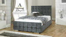 Nevada Cube Fabric Upholstered Bed Frame Storage 4'6 Double 5ft King Size