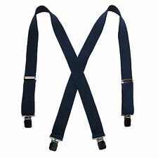 New CTM Mens Terry Casual Elastic Clip-End 1 1/2 Inch Suspenders