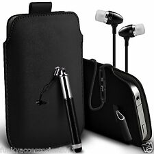 Pull Tab Slide In Pouch Case Cover Mini Stylus Pen & Earbud Headset Headphones