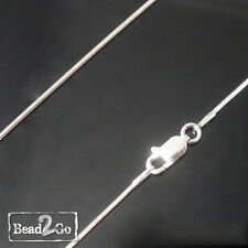 REAL SOLID 925 Sterling Silver Snake Chain Necklace - Oval Lobster Clasp
