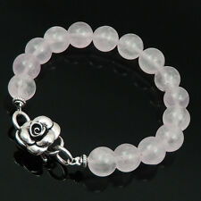 Handmade Bracelet 10mm Rose Quartz S925 Sterling Silver Flower S-hook Clasp