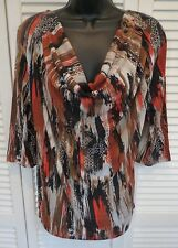 FABULOUS COWL NECK DRAPE FRONT 3/4 SLEEVE KNIT TOP ABSTRACT PAINT DESIGN