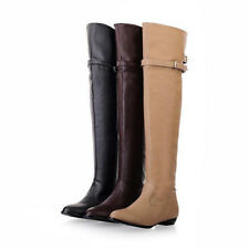 Womens Buckle Round Toe Falt Heel Pull On Over The Knee Boots PLUS SZ US4.5-11.5