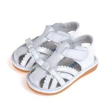Girls Pretty White Squeaky Leather Sandal Shoes. Caroch. Sizes 4-10