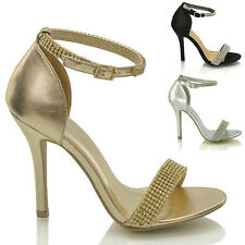 LADIES STILETTO ANKLE STRAP DIAMANTE WOMENS HIGH HEEL STRAPPY SANDALS SHOES SIZE