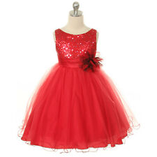 RED FLOWER GIRL DRESS WEDDING PARTY BRIDESMAID CHRISTMAS PAGEANT RECITAL GLITTER