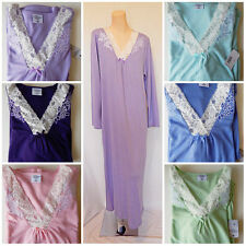 Soft Knit Nightgown Gown Long Sleeve S M L -L easy XL fit Purple Blue Pink Green
