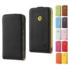 For Nokia Lumia 520 Magnetic Flip Stand Wallet Card Case GENUINE Leather Cover