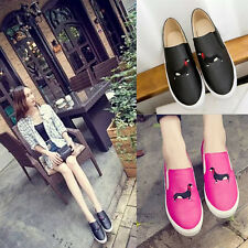 Lovely Dachshund Embroidery Women's Loafer Slip-on Shoes Round Toe Casual Flats
