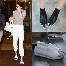 Celebrity Metal Pointed Toe Women Cool Flats Single Shoes Casual Loafer Slip-on