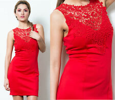 NEW Women's Sexy RED Mini Dress Crochet Lace Neck Cocktail Valentine's Day SML