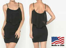 NEW Women's BLACK Sparkle Chiffon Ruffle Mini Dress Chain Straps Cocktail S M L