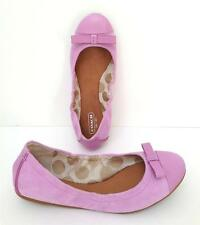 New COACH Lilac Rose DEVANA Light Purple Suede LEATHER Bow Flats Shoes