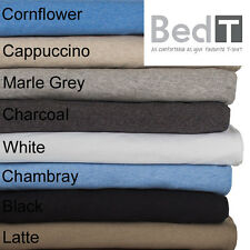 BedT Sheet Set Single King Single Double Queen King Bambury Tshirt Jersey Cotton