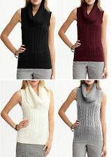 NWT Banana Republic $69.50 Wool Cashmere Cable-knit Sleeveless Cowlneck PXS,PS,M