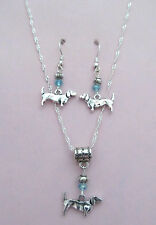 Dachshund Earring & Charm Necklace Set  FREE FAST SHIPPING!  S-1007