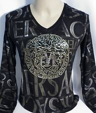 NWT Men's SHINY Black LONG SLV T-shirt- ALL Sizes-ea7.ea.d.g.ga.aix.aj.BUY!!!