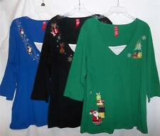HOLIDAY TIME TOPS, Christmas & Winter, SZ 2X-4X, Blue, Black, Green, Dark Gray
