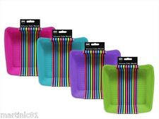SET 2 SILICONE SILICON SQUARE CAKE TIN TRAY MOULD 4 FUNKY COLOURS OVEN DISH COOK