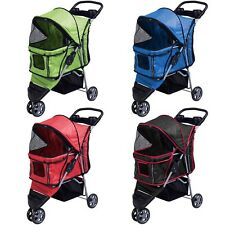 New Pet Stroller Cat Dog 3 Wheels Stroller Travel Folding Carrier 4 Color Choice