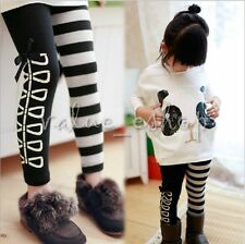 Kids Girls Classical Black White Stripe&Bow Leggings Tights Trousers Clothes 3-8