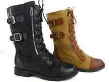 Anna Women's Canvas Combat Boots Military Leather Calf High Motorcycle Zipper