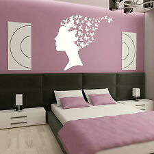 Girl Butterflies in Hair Wall Sticker / Decal Transfer / Graphic Stencil Art X80