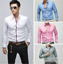 New Stylish Popular Mens Luxury Casual Formal Slim Fit Long Sleeve Dress Shirts