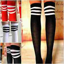 Womens Stripe Opaque Over The Knee Thigh High Stockings Soccer Sports Long Socks