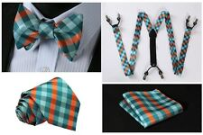 6C01G Green Orange Check Silk Tie Handkerchief Suspenders Self Bow Tie Set