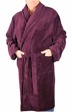 Mens Kingsize Big Size Soft Warm Fleece Dressing Gown Robe Burgundy Wine