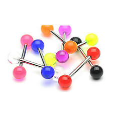Steel UV Reactive Tongue Nipple Bar - 14g 16mm  Choose Colour