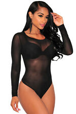 Sexy Sheer Lace Long Sleeves Bodysuit one piece women winter new sexy lingerie