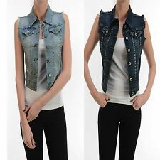 New Women Girl Real Denim Premium QUALITY Dark Light DENIM VEST Wash Jean Button