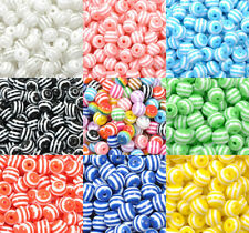 Wholesale ZEBRA & STRIPE ACRYLIC Round Spacer BEADS - Choose 6MM 8MM 10MM 12MM