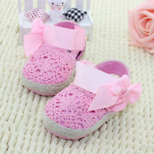 New Baby Girl Kids Todder Hollow Flower Bowknot Walking Non-Drop Shoes
