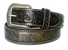3D Western Mens Belt Leather InlayTooled Metallic Brown Turquoise 8544