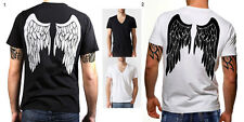 DEMON Wing Deep V Neck Black White T-shirt top tee men short sleeve S M L XL