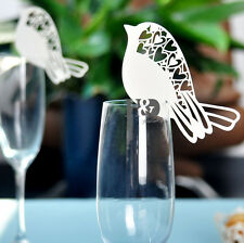 Paperboard Bird Laser Heart Glasses Name Place Cards Wedding Party Table Decor