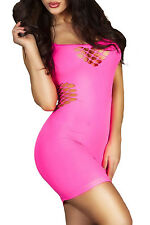 Rosy Red Honeycomb Hollows Chemise Dress LC21345 women sexy nighty club wear