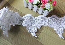 1.5Y/7Y Wholesale White Organza 3D Embroidery Floral Lace Fabric Trim DIY L1688