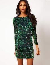 Asos Topshop Green Iridescent Glitzy Sequin Dress Small Size UK 8 NEW Celeb